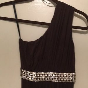 Sky Chocolate Brown One Shoulder Evening Gown.